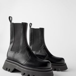 ZARA leather boots with lug soles. US 6½ / 37,5